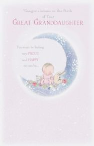 New Baby Great Granddaughter Congratulations Card